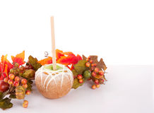 Caramel and chocolate covered apple with  leaves Stock Photo