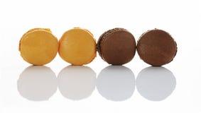 Caramel and chocolate macarons Stock Photo