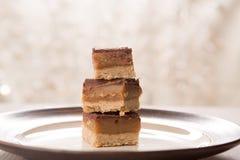 Caramel and Chocolate Treats. Millionaire Bars caramel and chocolate bar treats stock photos