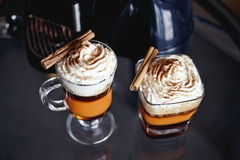 Caramel coffee with cream Stock Photos