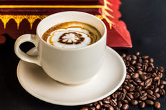 Caramel coffee in white cup Stock Photo