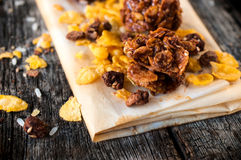 Caramel and corn flakes Stock Images