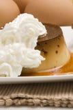 Caramel cream and chantilly cream. Royalty Free Stock Photos