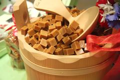 Caramel cubes Stock Photo