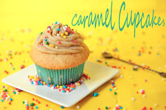 Caramel cupcake Stock Photo