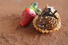 Caramel cupcake with strawberry Stock Images