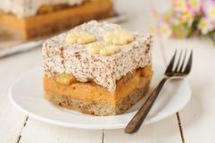 Caramel Custard, Banana and Chocolate Whipped Cream Layer Cake Royalty Free Stock Photo