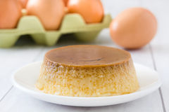Caramel custard and egg Royalty Free Stock Images