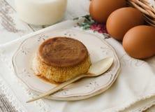 Caramel custard with eggs and milk Stock Photo