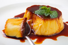 Caramel custard pudding royalty free stock photo