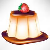 Caramel custard with strawberry Stock Image