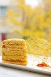 Caramel decoration and cake Stock Image
