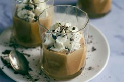 Caramel Dessert with Whipped Cream and Grated Chocolate royalty free stock photography