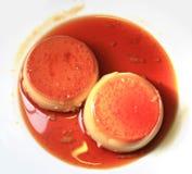 Caramel flan. Photograph of caramel flan on the plate Royalty Free Stock Photography