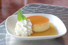 Caramel Flan Dessert. With Cream Stock Image