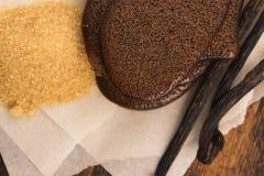 Caramel fondu de sucre roux avec la vanille photo libre de droits