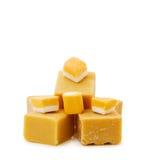 Caramel fudge and vanilla candy on white. Sweet tooth - caramel fudge and vanilla candy isolated on white Stock Image