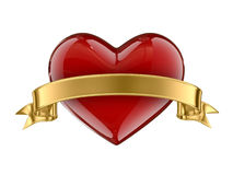 Caramel heart whit golden ribbon Stock Photography