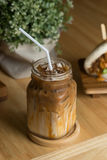 Caramel ice coffee in the coffee shop. Royalty Free Stock Photography