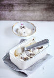 Caramel ice cream with salt and grated black truffle Royalty Free Stock Photography
