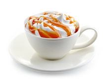Caramel latte coffee with whipped cream Stock Photography
