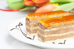 Caramel layer cake Royalty Free Stock Image
