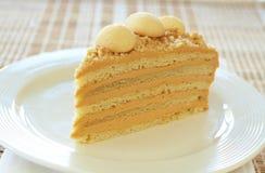 Caramel medovik cake. Made with honey and caramel cream Stock Photos