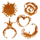 Caramel melt blot set - spiral round and abstract curves. Stock Images
