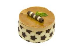 Caramel mousse cake isolated Stock Photos