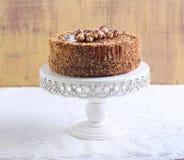 Caramel and nut cake Royalty Free Stock Photography