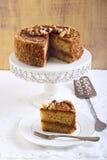 Caramel and nut cake Stock Photography