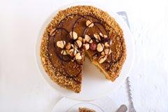 Caramel and nut cake Stock Photo