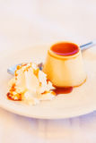 Caramel pannacotta dessert Stock Images