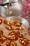 Caramel with peanuts. Close up stock images