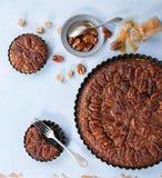 Caramel pecan pie royalty free stock photos