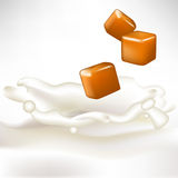 Caramel pieces dropped in milk splash Royalty Free Stock Images