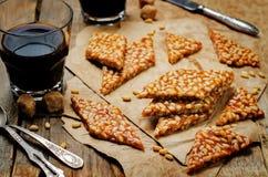 Caramel pine nuts sweets. Italian cuisine Stock Photo