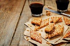 Caramel pine nuts sweets. Italian cuisine Royalty Free Stock Image