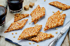 Caramel pine nuts sweets. Italian cuisine Royalty Free Stock Photography