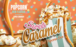 Caramel popcorn ads. Caramel flowing down with rainbow jimmy coated  on colorful dotted background, 3d illustration Stock Image