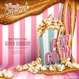 Caramel popcorn ads. Sweet popcorn ads, caramel flowing down and rainbow jimmy coated  on pink stripes background, 3d illustration Royalty Free Stock Photos