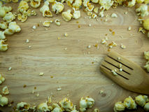 Caramel Popcorn on a chopping block. For background Royalty Free Stock Photo