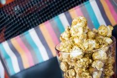 Caramel popcorn in glass Royalty Free Stock Photo