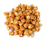 Caramel popcorn. Isolated on white background stock photo