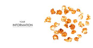 Caramel popcorn pattern. On a white background, top view stock photos