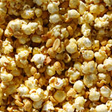 Caramel Popcorn and Peanuts Square Background Stock Photo
