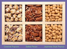 Caramel Popcorn, Salted Pecan, and Japanese Style Peanut Royalty Free Stock Photos