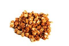 Caramel popcorn on white background Royalty Free Stock Image