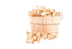Caramel popcorn on white background Royalty Free Stock Photo