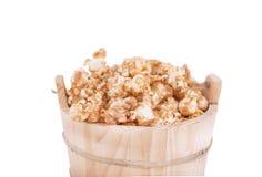 Caramel popcorn on white background Royalty Free Stock Photography